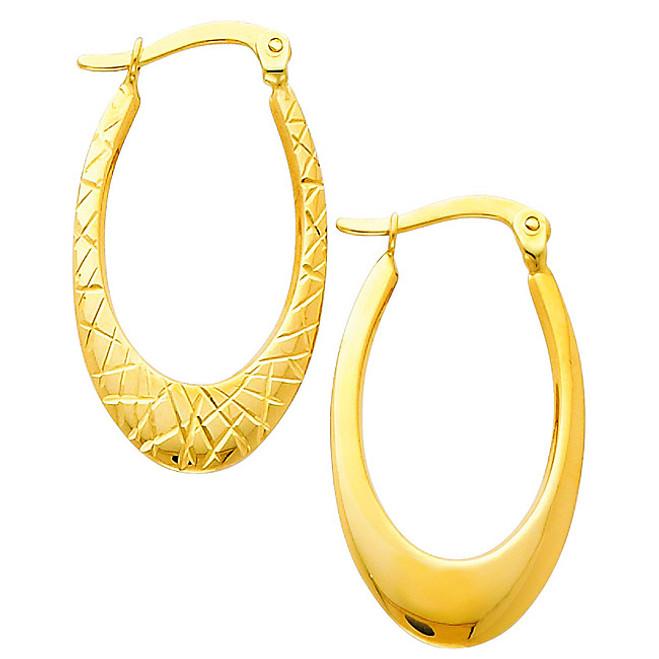 Reversible Narrow Yellow Gold Diamond Cut Hoop Hearring