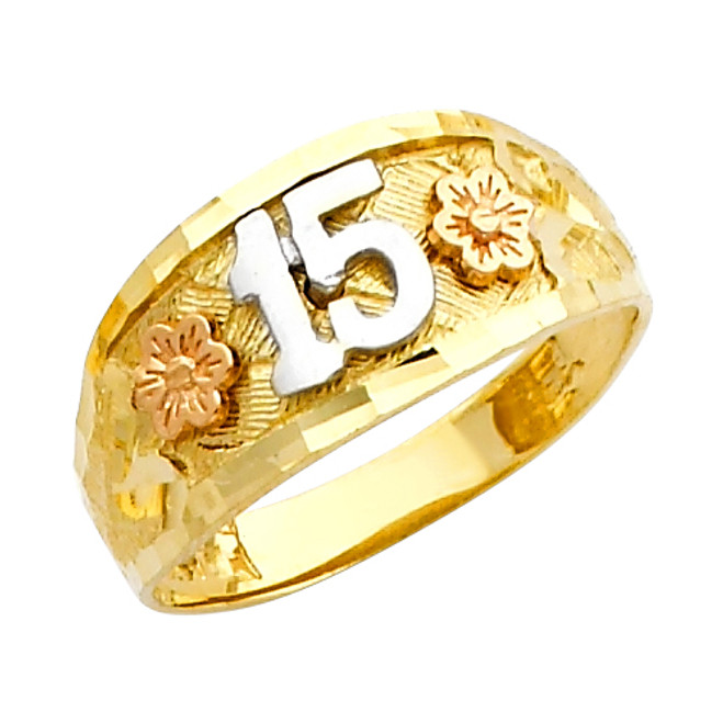 "Floral ""15 Anos""  Yellow Gold Ring"