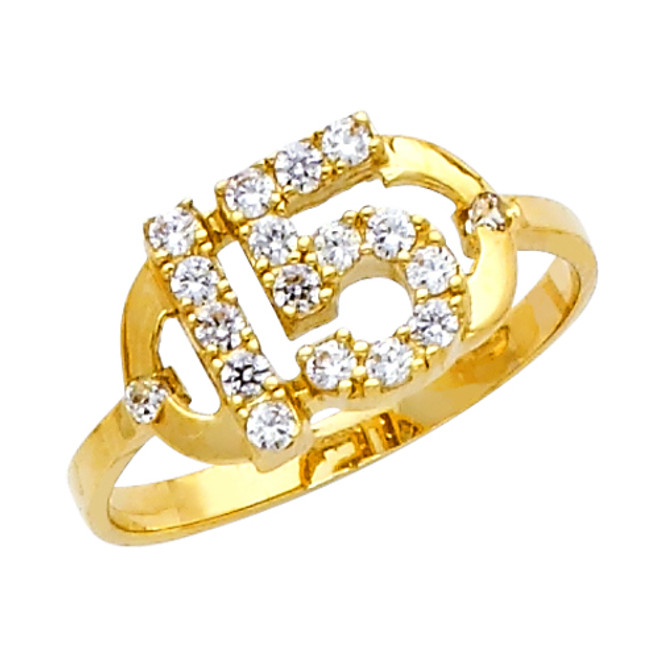 "Elegant ""15 Anos"" Yellow Gold Ring"