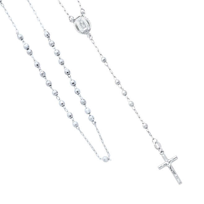 14K White Gold Rosary Necklace - The Mother of Peace