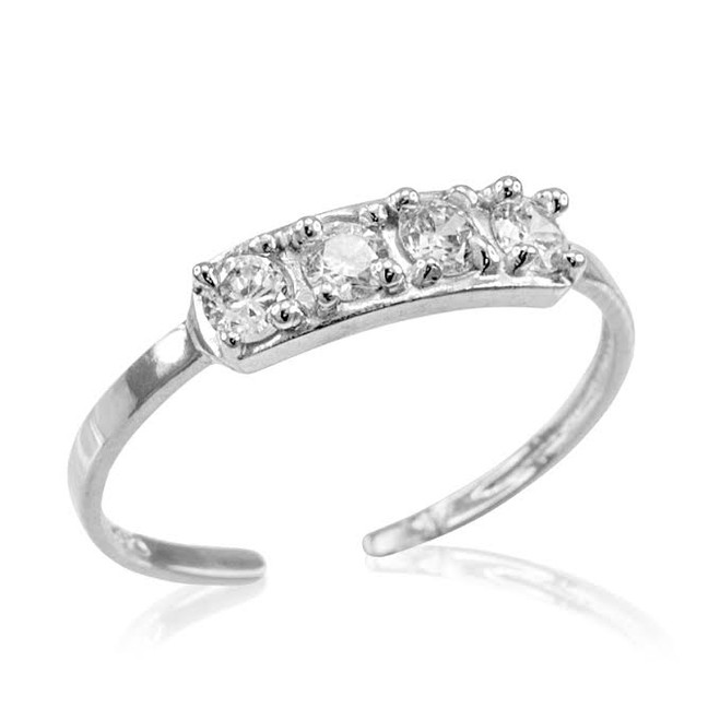 White Gold CZ Toe Ring