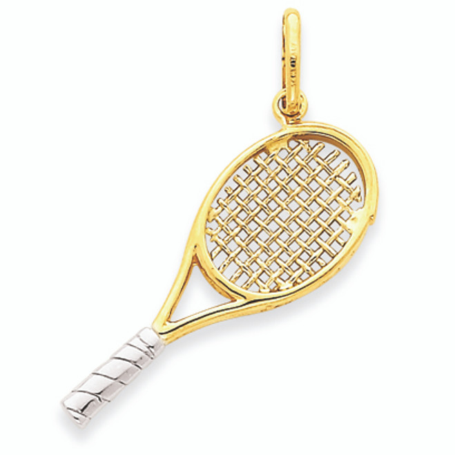 14K Gold Two-Tone Gold Large Tennis Racket Charm