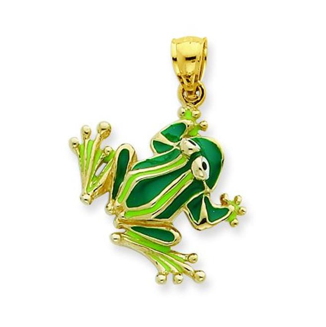 14K Gold Enameled Frog Pendant