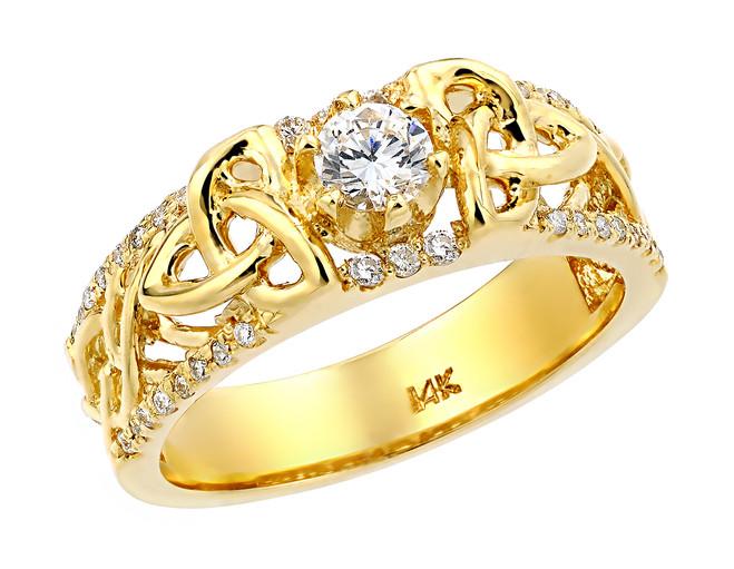 Yellow Gold Celtic Knot Diamond Wedding Ring