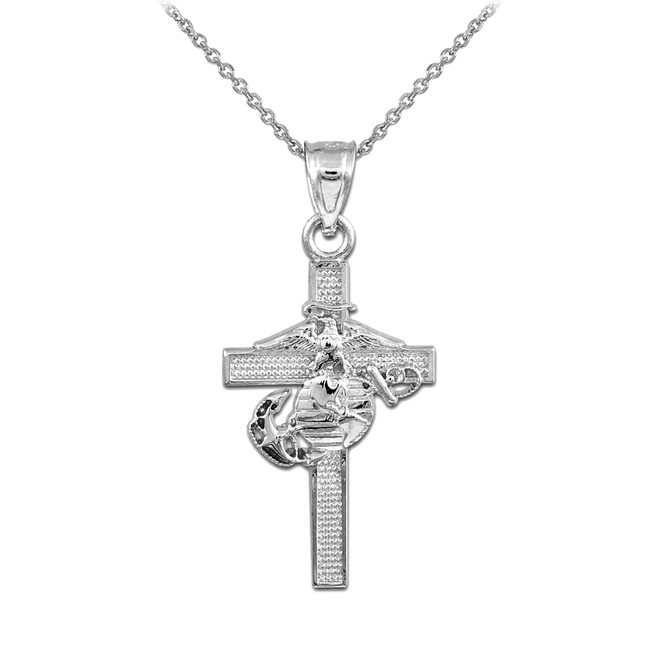Silver US Marine Cross Pendant Necklace- Large