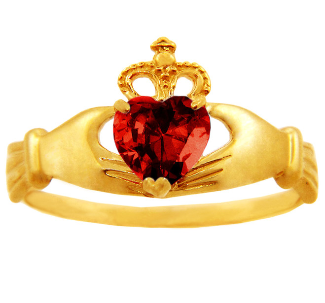 Garnet birthstone Claddagh ring in 10k or 14k yellow gold.