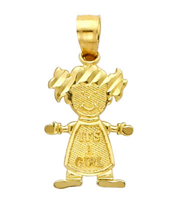 14K Gold Baby Girl Cutie Charm