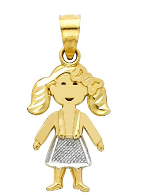 14K Two-Tone Gold Little Girl Charm