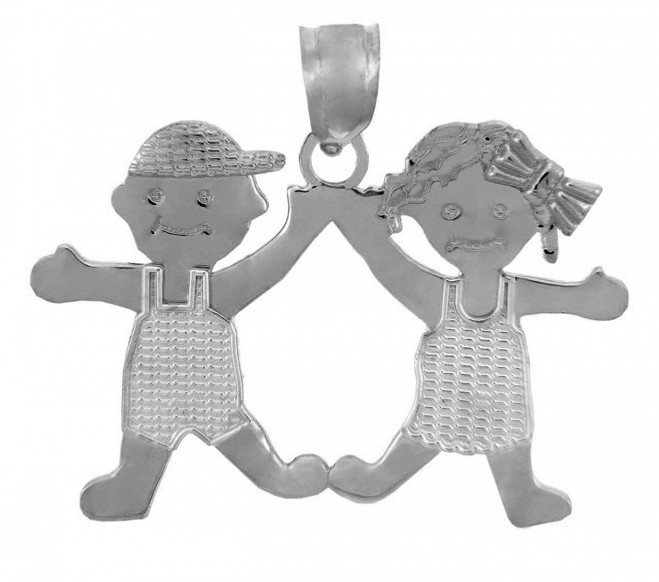 White Gold Baby Charm Pendant - Boy and Girl