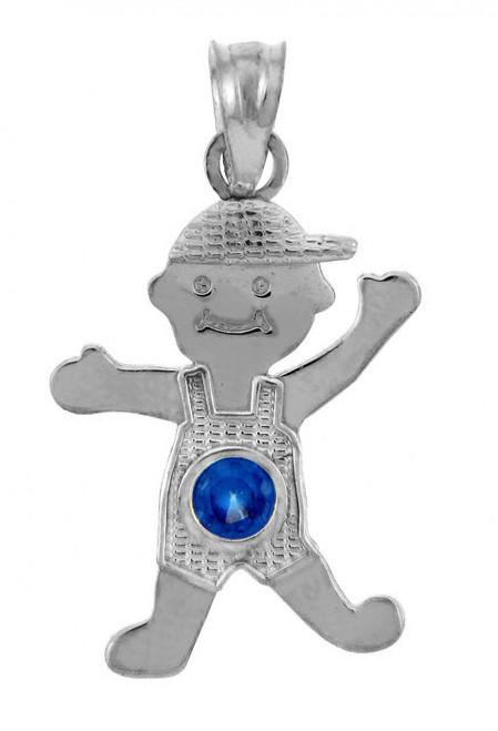 White Gold Baby Charm Pendant - CZ Sapphire Blue Boy Birthstone Charm