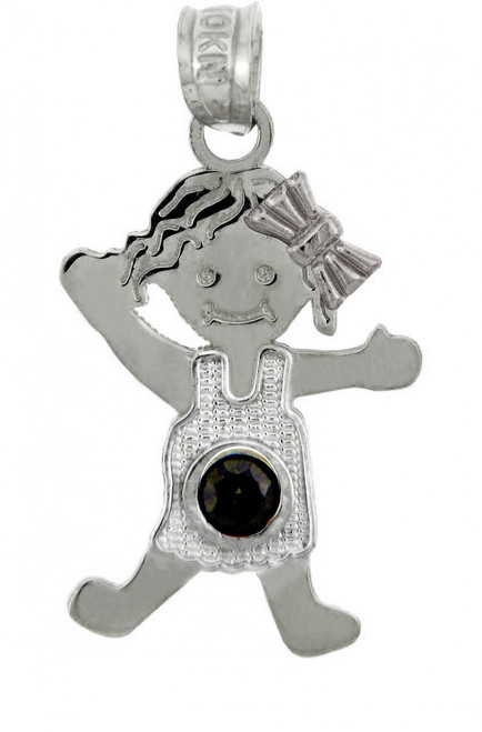 White Gold Baby Charms and Pendants - CZ Dark Emerald Green Girl  Birthstone Charm