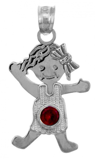 White Gold Baby Charms and Pendants - CZ Ruby Garnet Girl  Birthstone Charm