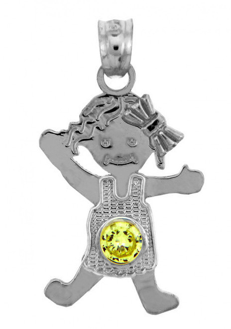 White Gold Baby Charms and Pendants - CZ Peridot Girl Birthstone Charm
