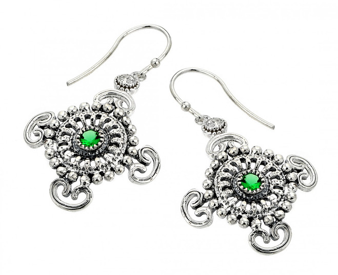 Oxidized Sterling Silver  Celtic Filigree Emerald Earrings with CZ