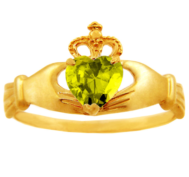 Yellow topaz cz birthstone Claddagh ring in 10k or 14k yellow gold.