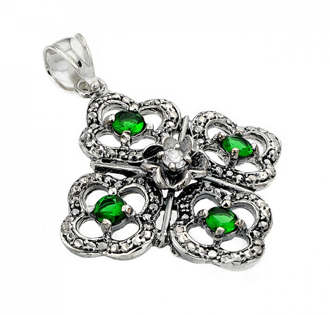 Oxidized Sterling Silver Four-Leaf Clover Pendant