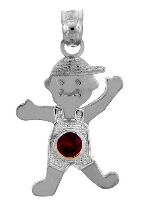 Silver Baby Charms and Pendants - Boy Birthstone Charm with CZ Red Stone