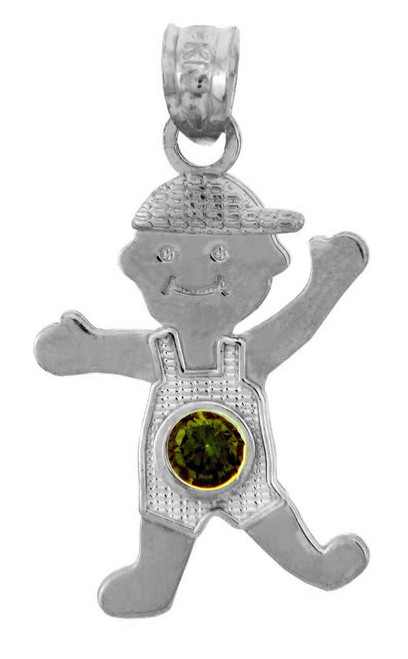 Silver Baby Charms and Pendants - CZ Dark Emerald Green Boy Birthstone Charm