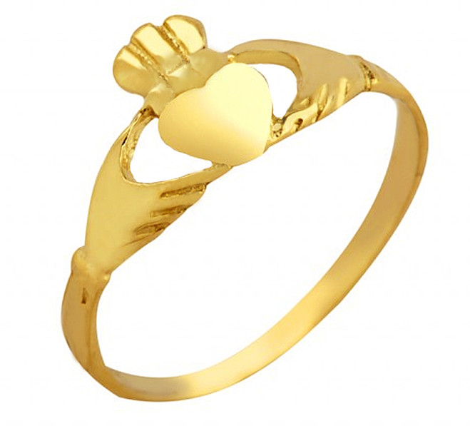 Gold Claddagh Baby Ring.  Available in 10k and 14k.