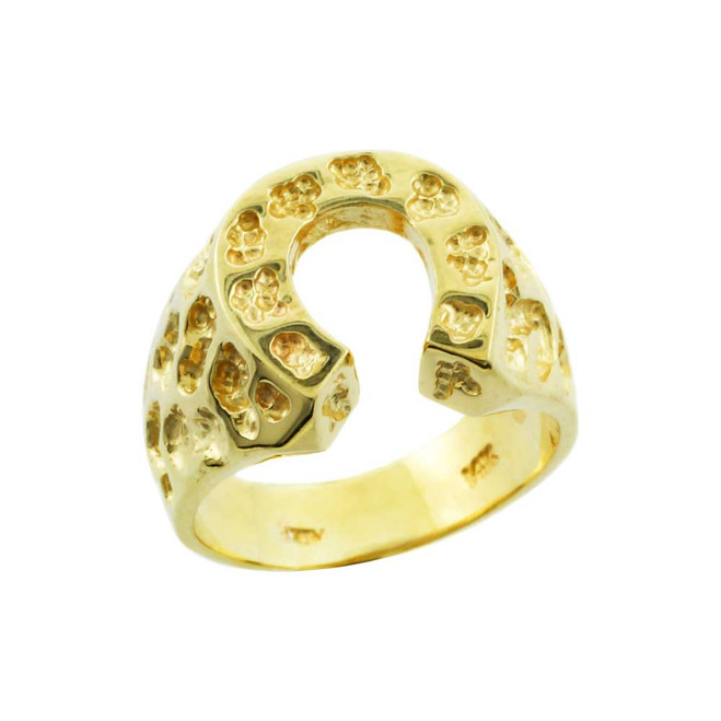 Yellow Gold Horse Shoe Nugget Ring