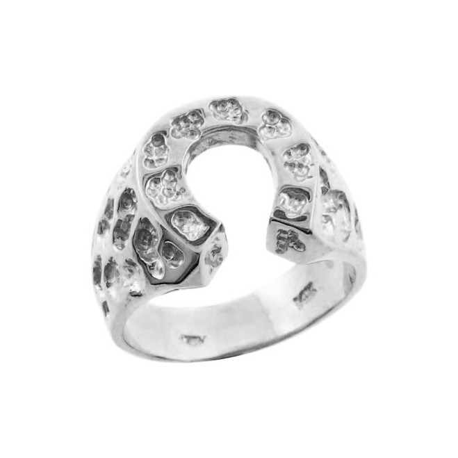Silver Horse Shoe Nugget Ring