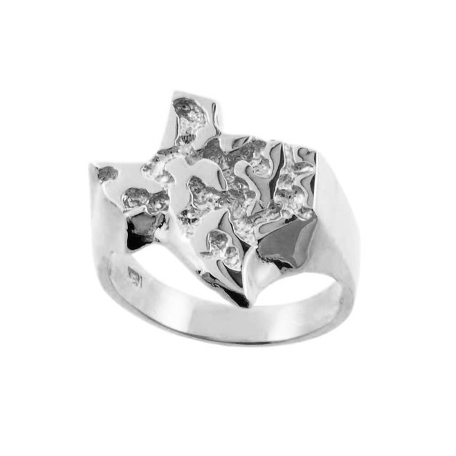 Silver Large Texas Nugget Ring