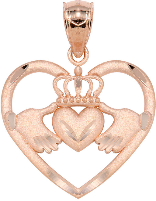 Rose Gold Claddagh Heart  Pendant