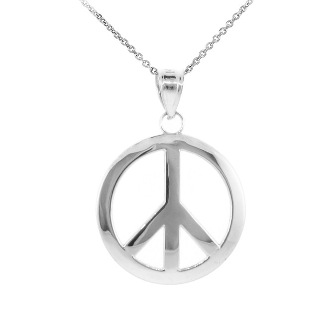925 Sterling Silver Peace Symbol Pendant Necklace (L)