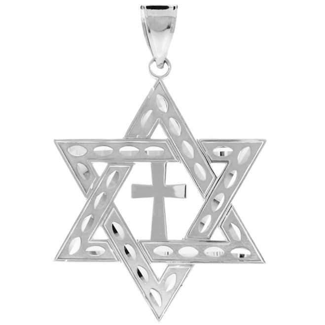 925 Sterling Silver Jewish Star of David Cross Pendant (L) 2.2""