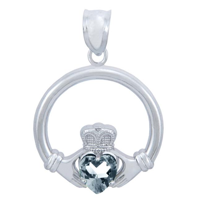 Silver Claddagh Clear CZ Heart Pendant (L)