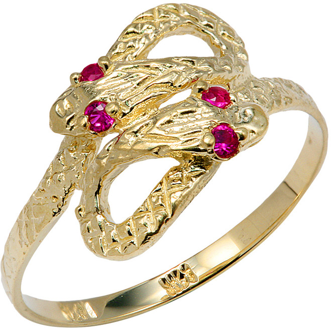 Yellow Gold CZ Two Headed Snake Ring