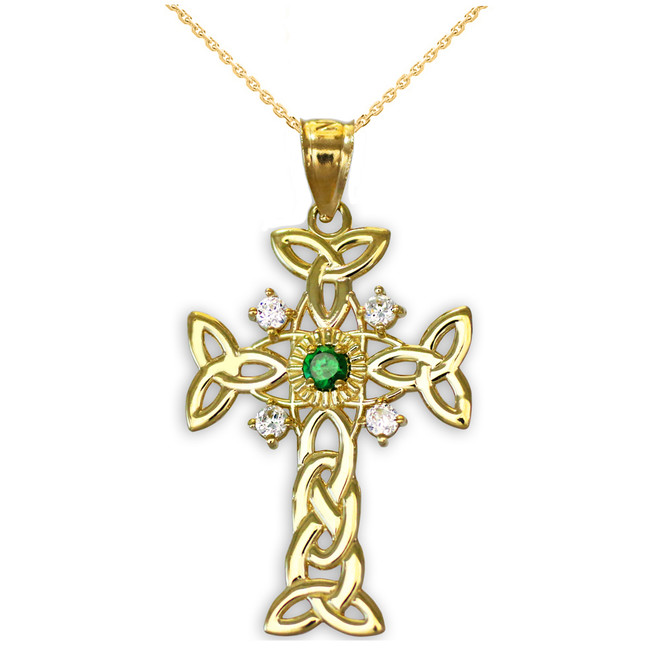 Gold Celtic Knot Trinity Cross Diamond Pendant Necklace with Genuine Emerald