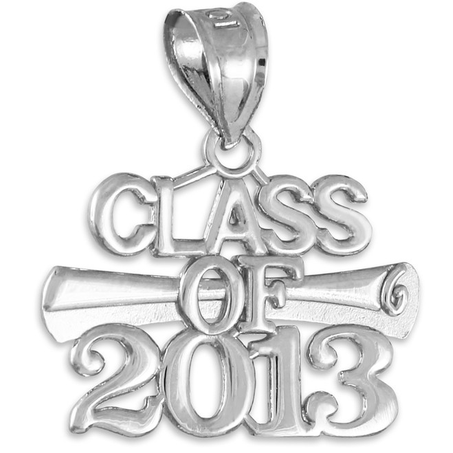 "White Gold ""CLASS OF 2013"" Graduation Charm Pendant"