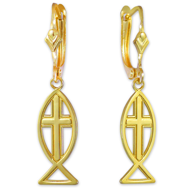 Yellow Gold Ichthus Cross Earrings