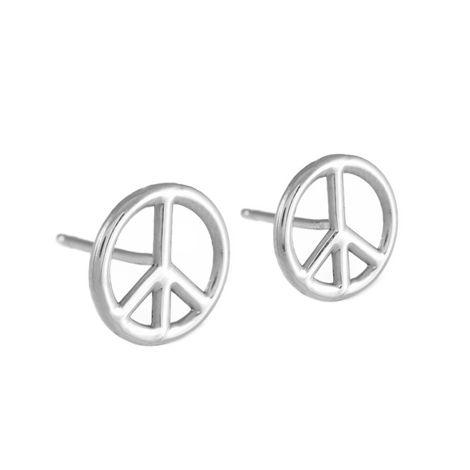 925 Sterling Silver Peace Symbol Post Earrings