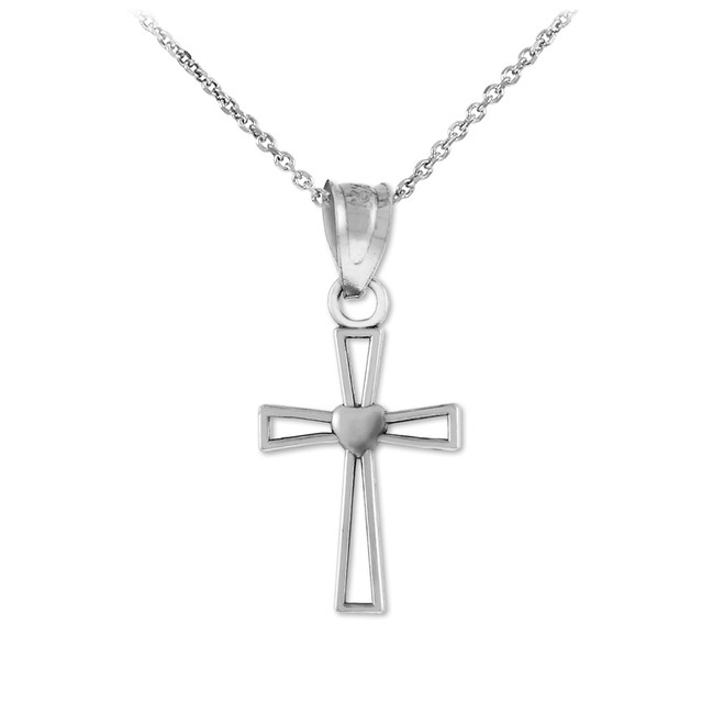 Sterling Silver Heart Open Cross Charm Pendant Necklace
