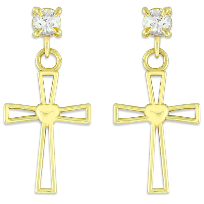Gold Heart Cross CZ Post Earrings