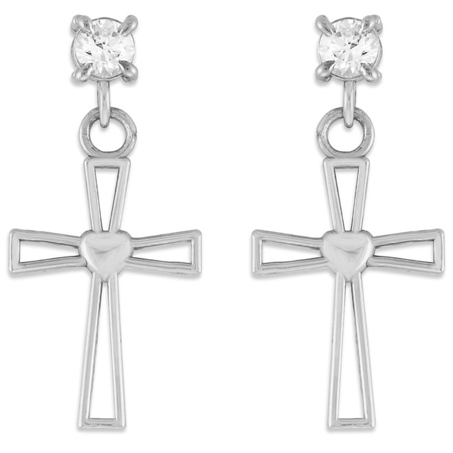 White Gold Heart Cross CZ Post Earrings