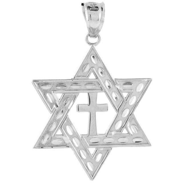 "White Gold Star of David Cross Pendant (M) 1.25"""