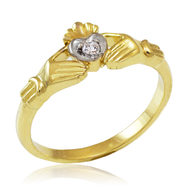 Yellow Gold Diamond Claddagh Promise Ring