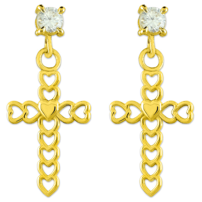 Gold Open Hearts Cross CZ Post Earrings