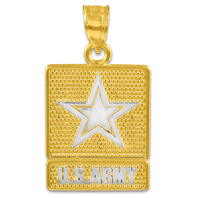 Two-tone Gold US ARMY Pendant