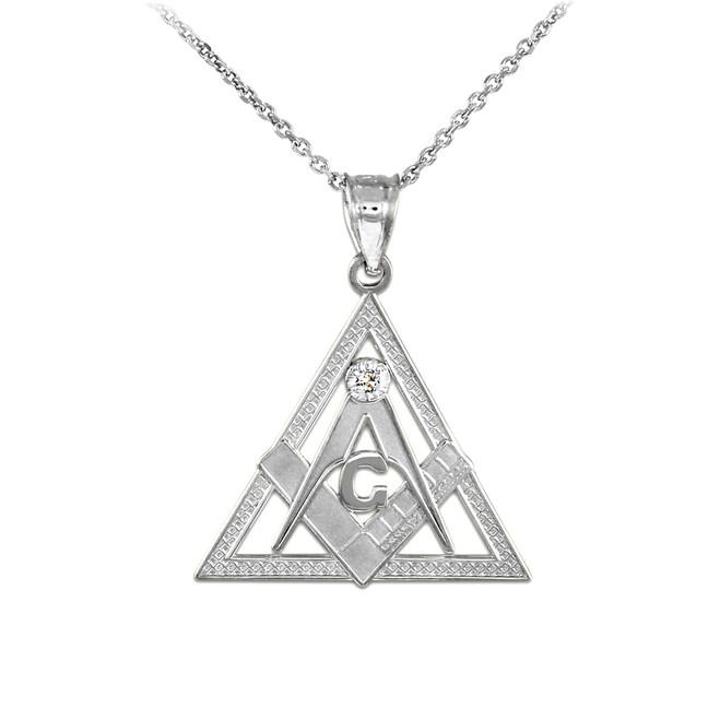Sterling Silver Freemason Triangle Masonic CZ Pendant Necklace
