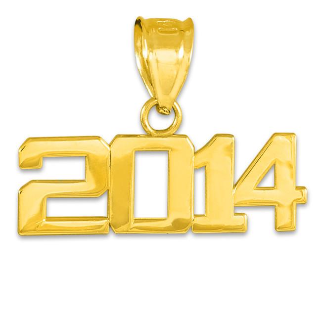 Gold 2014 Class Graduation Charm Pendant