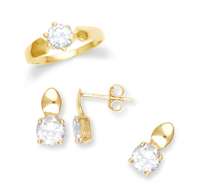 Gold Cubic Zirconia Gold Set with Slider Pendant