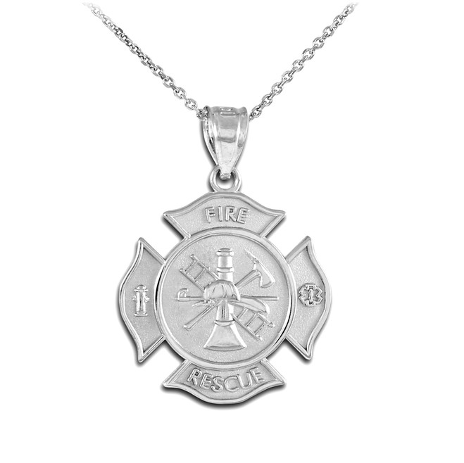 White Gold Fire Rescue Firefighter Solid Badge Pendant Necklace