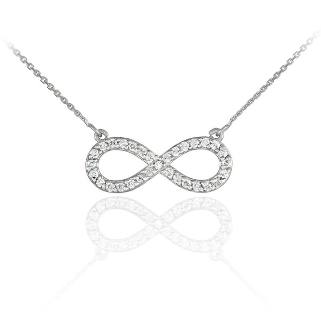 14K White Gold Diamond Infinity Pendant Necklace