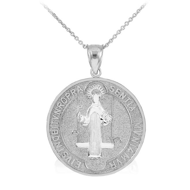 Sterling Silver St. Benedict Coin Medallion Pendant Necklace (L)