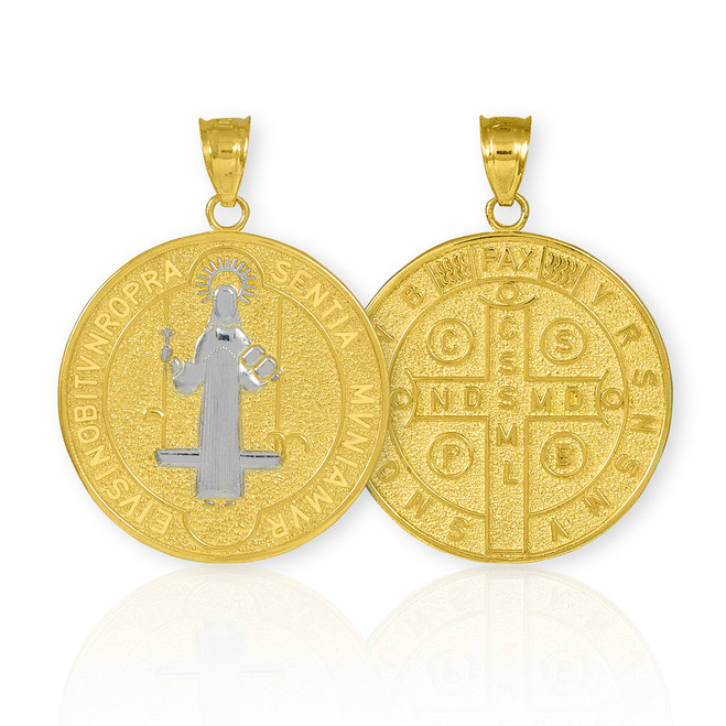 Solid Gold St. Benedict Coin Medallion Pendant (M)