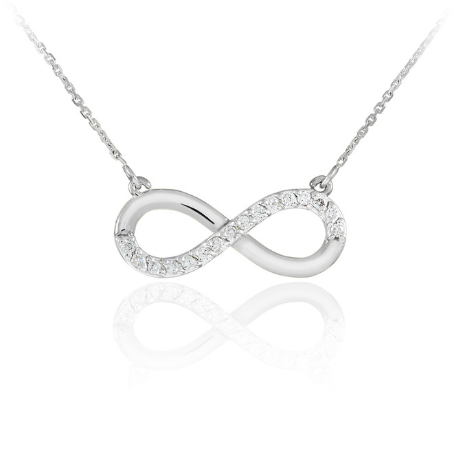 Sterling Silver Infinity Pendant CZ Necklace